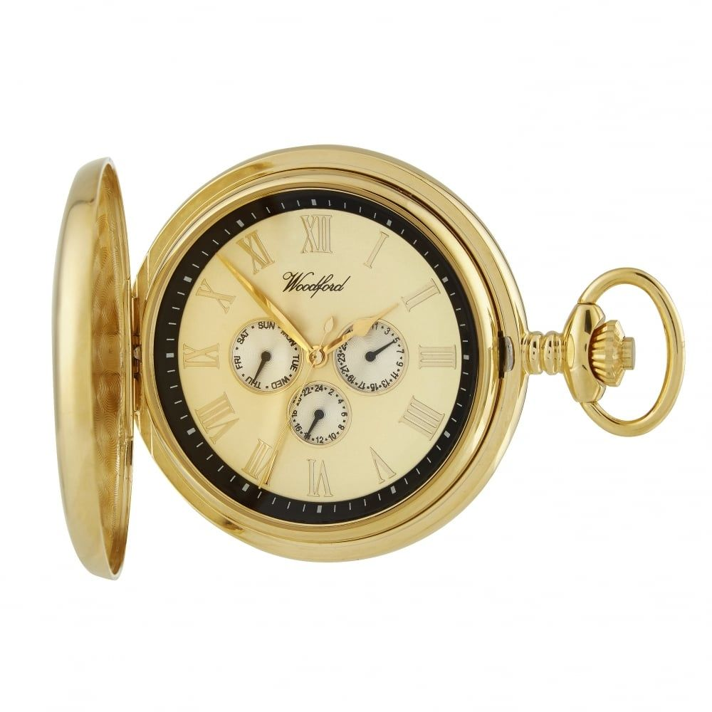 Gold Plated Full Hunter Pocket Watch with Day/Date Display