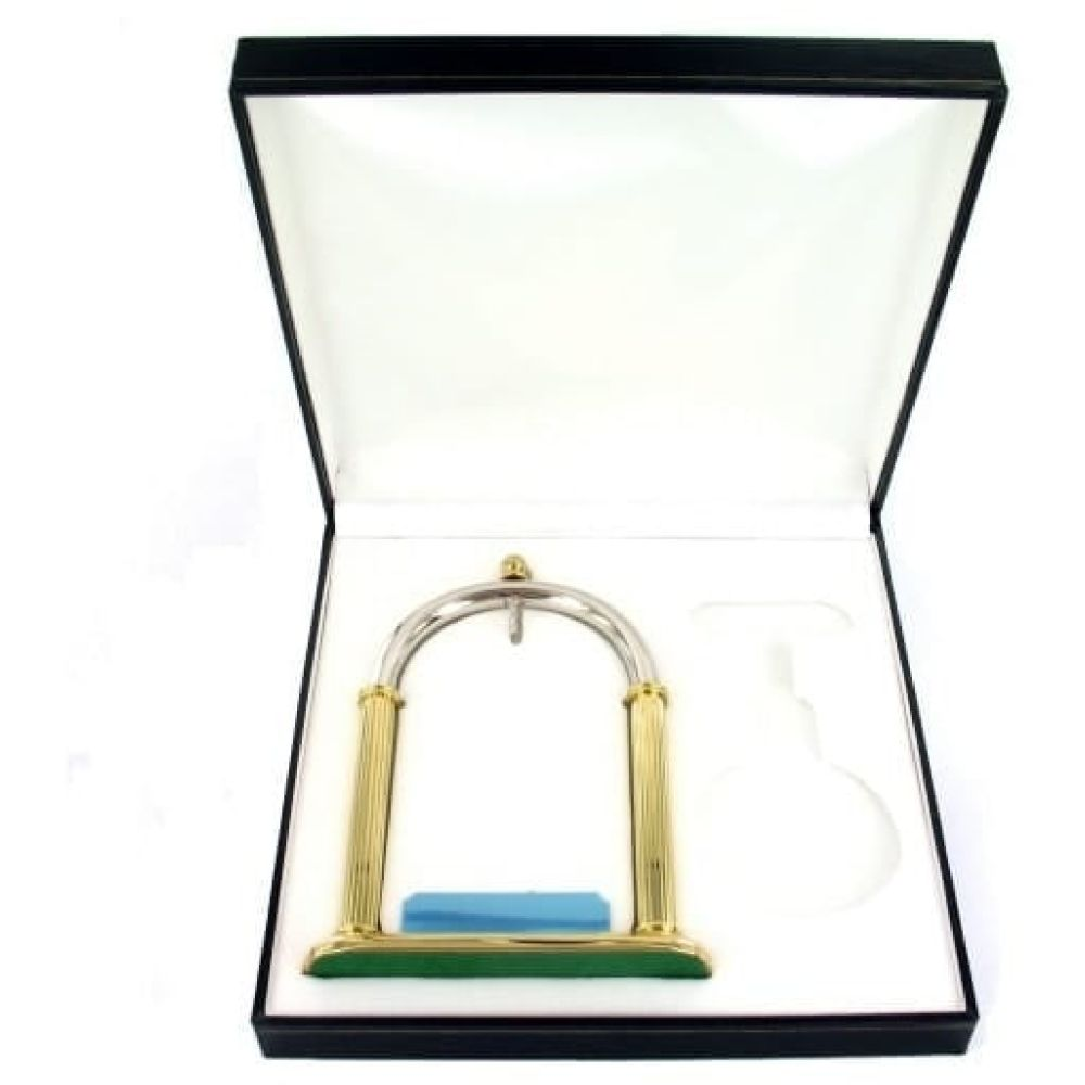 Two Tone Gold Plated Pocket Watch Stand with Engraving Plate