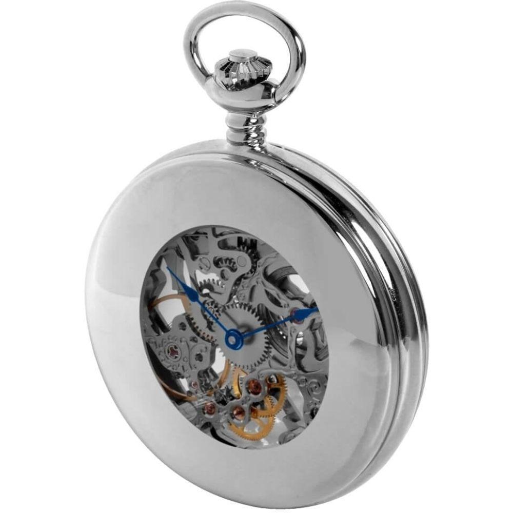 Chrome Double Half Hunter Mechanical Pocket Watch