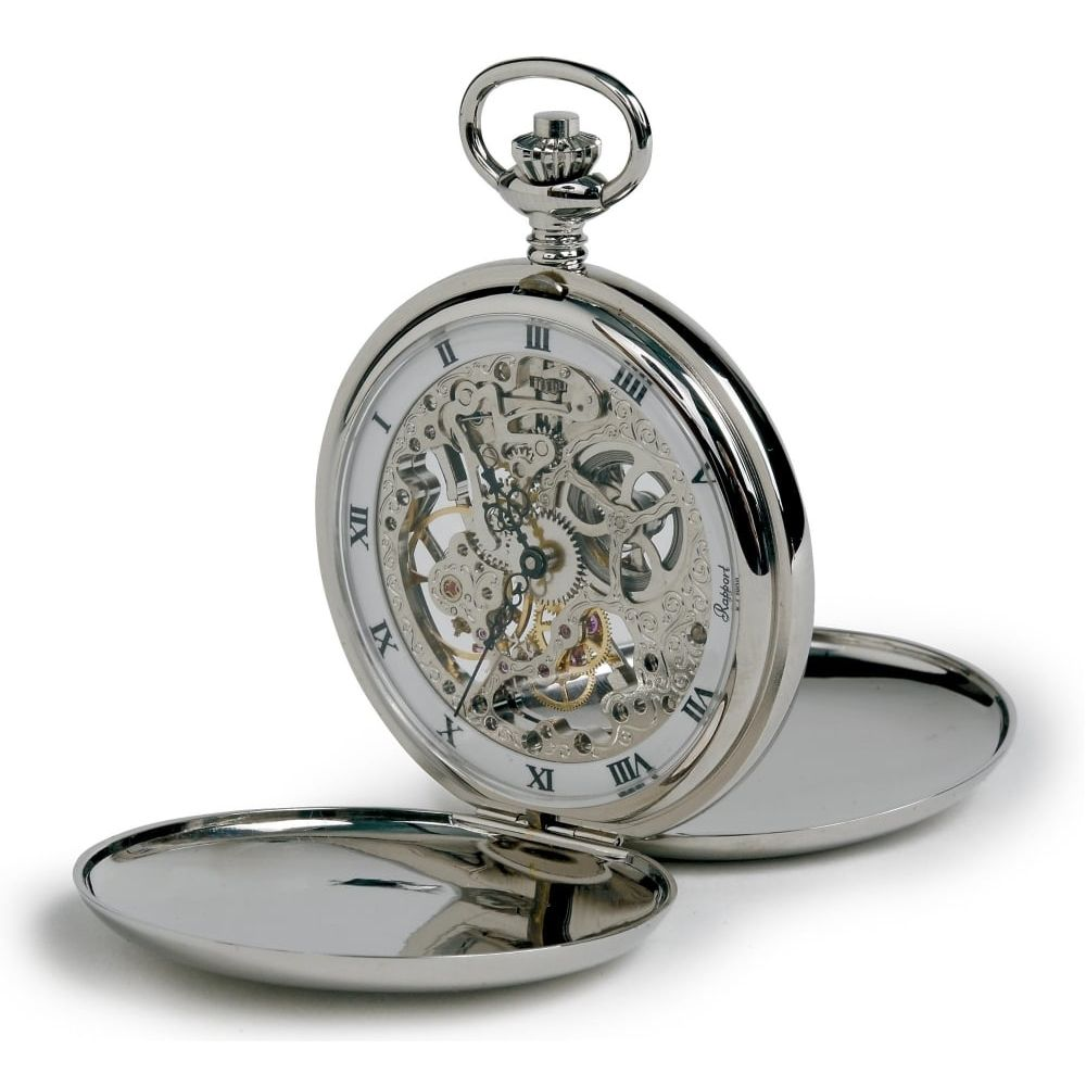 Silver Tone Mechanical  Double Hunter Pocket Watch