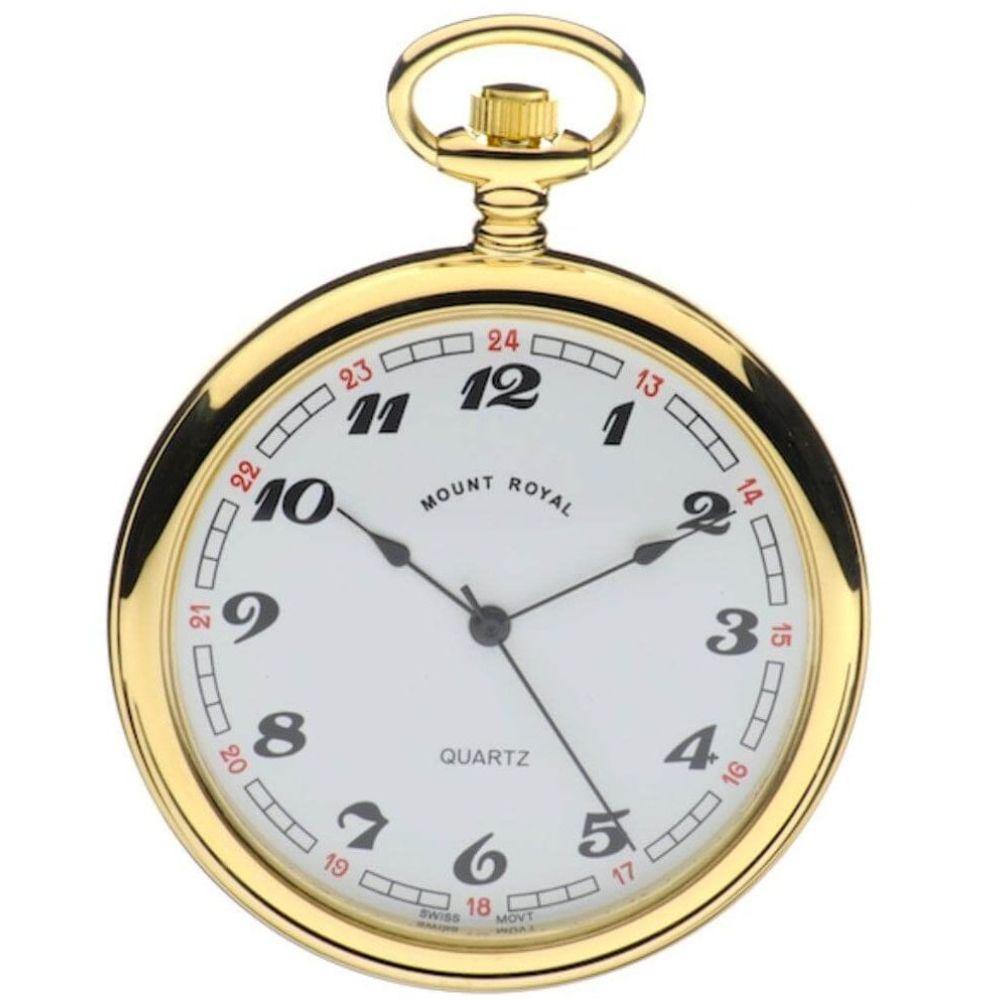 Open Face Gold Tone Quartz Pocket Watch