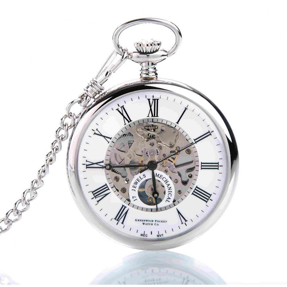 The Eltham - Chrome Mechanical Open Face Pocket Watch