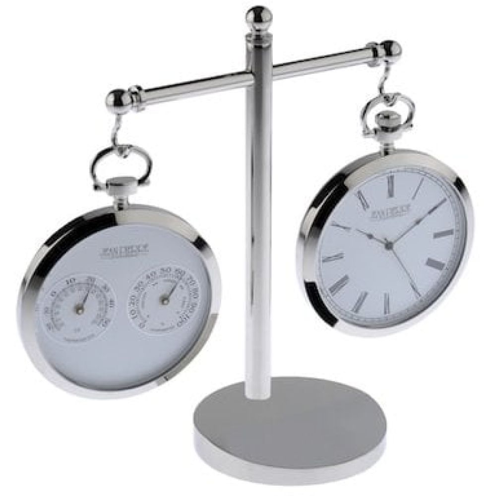 Polished Chrome Executive Desk Clock & Thermometer /Hygrometer Set With Stand