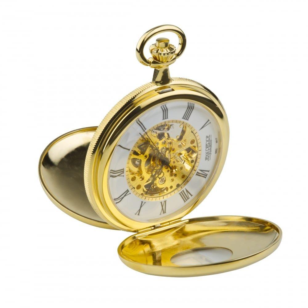 Gold Toned Half Double Hunter Mechanical Pocket Watch