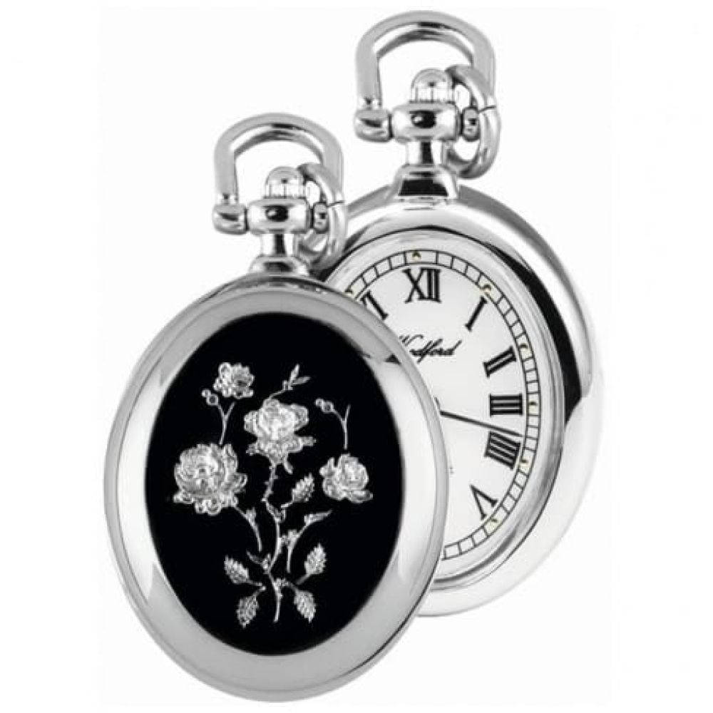 Chrome Plated Open Face Flower Pendant Watch