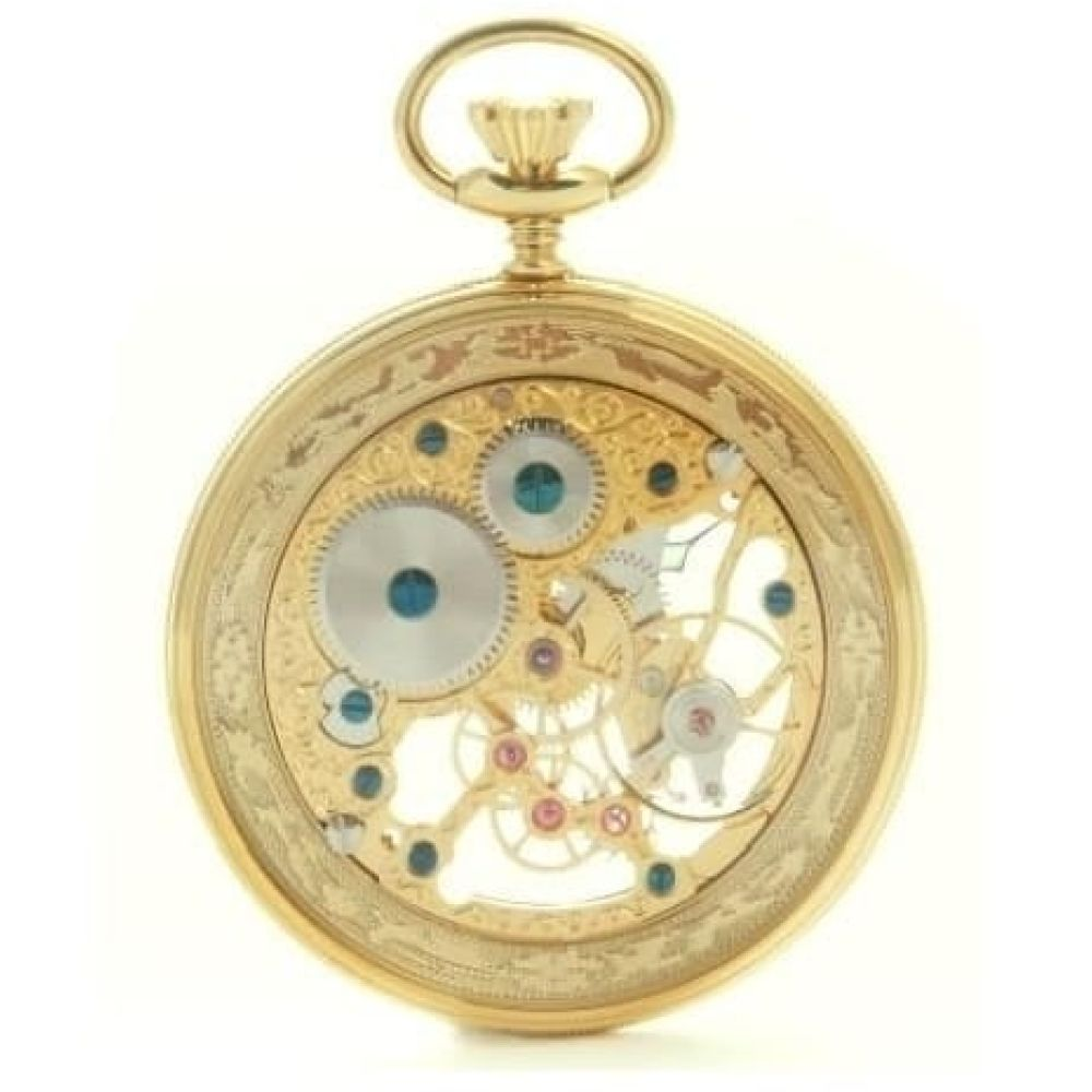 Gold Plated Swiss Mechanical Skeleton Open Face Pocket Watch
