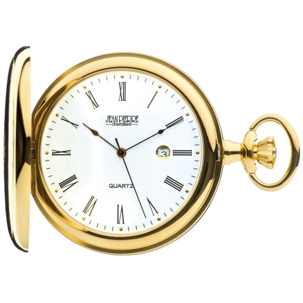 Gold Toned Quartz Full Hunter Pocket Watch with Roman Numerals