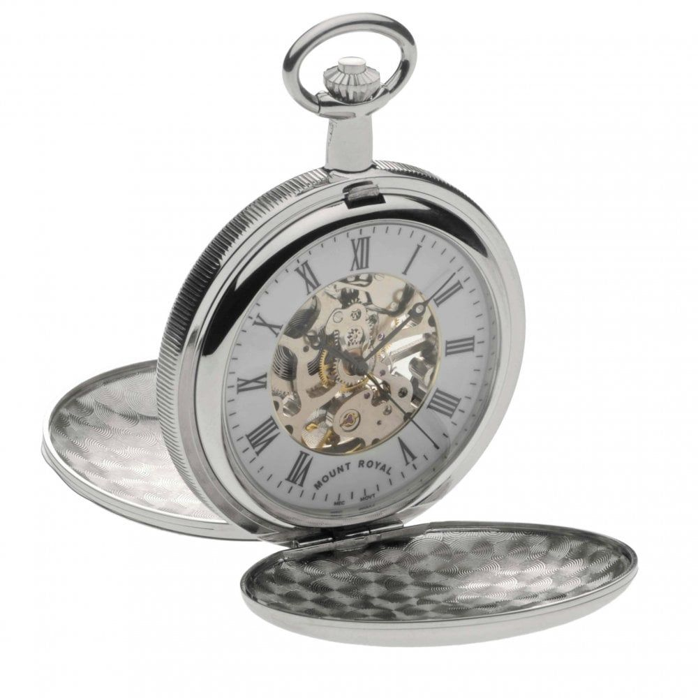 Chrome Polished Skeleton Mechanical Double Hunter Pocket Watch With Roman Indexes