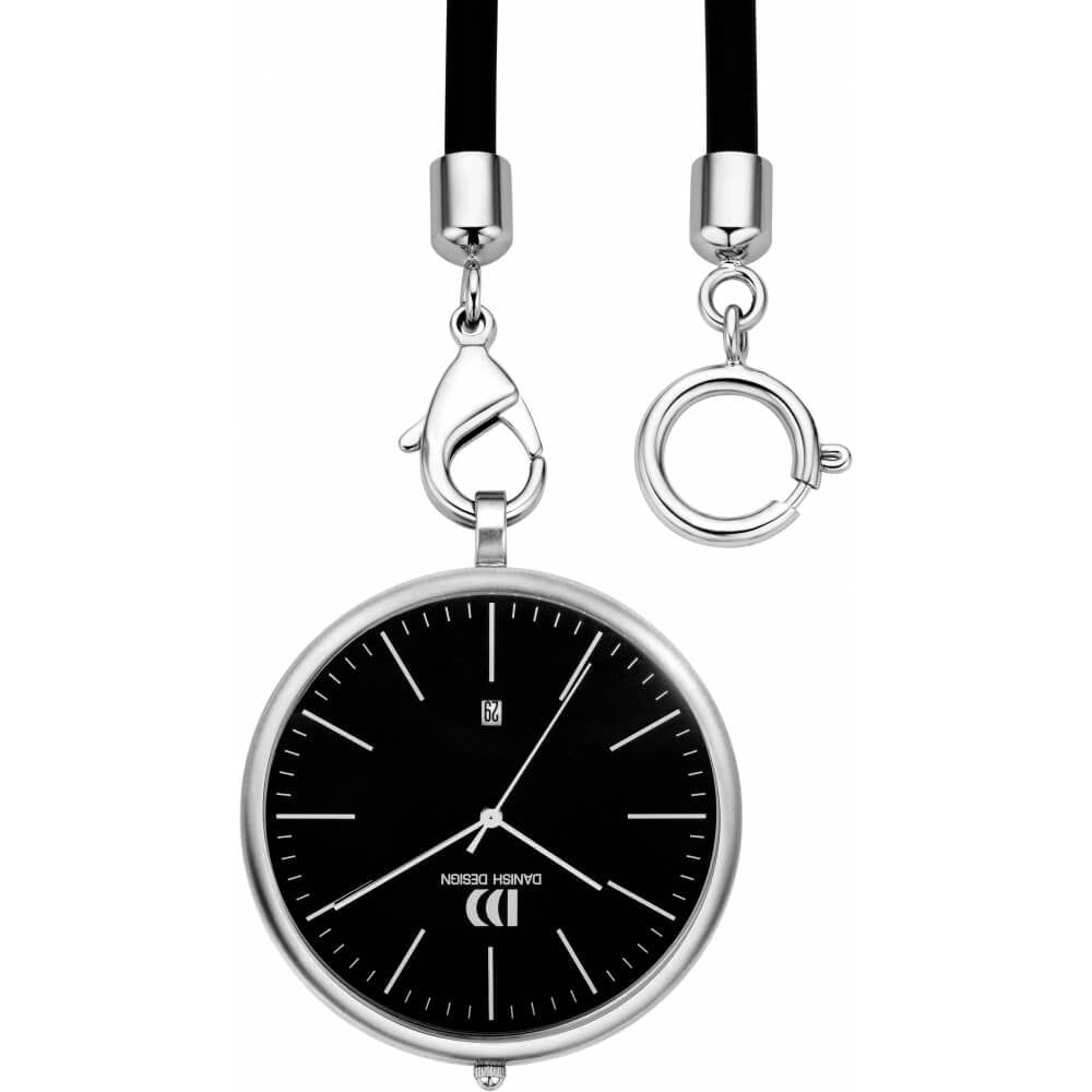 Black Face Chrome Plated Pocket Watch with Rubber Strap