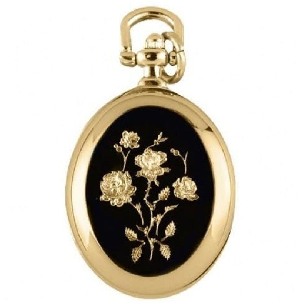 Ladies Oval Quartz Gold Plated Pendant Necklace Watch