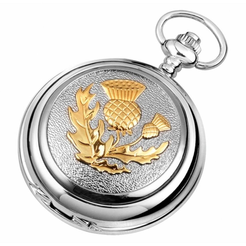 Thistle Chrome And Gold Mechanical Double Hunter Pocket Watch