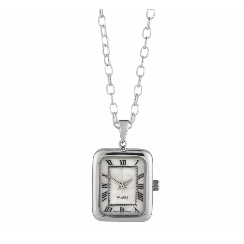 Chrome Rectangle Pendant Watch with Mother Of Pearl Dial
