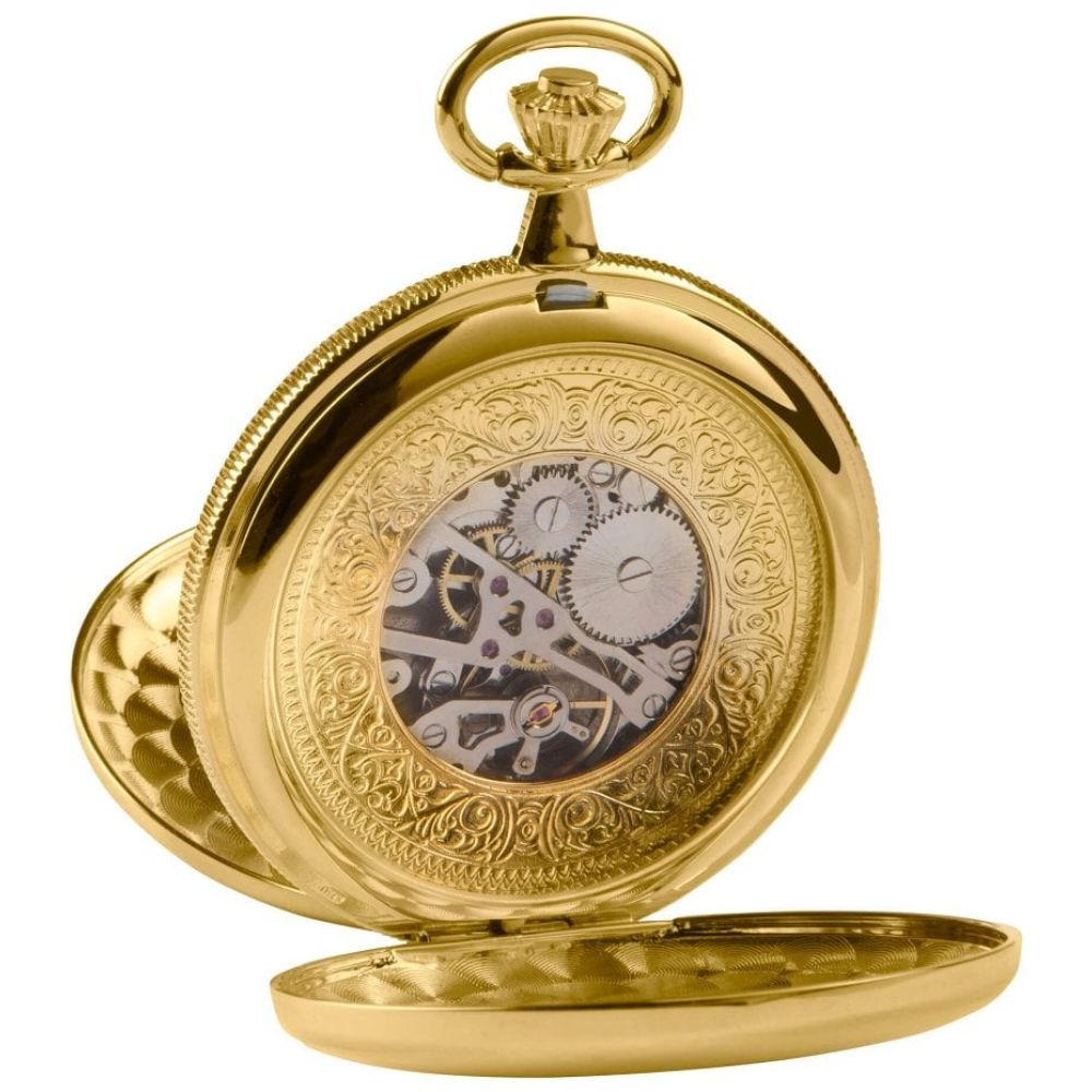 Gold Double Hunter Mechanical With Skeleton Back