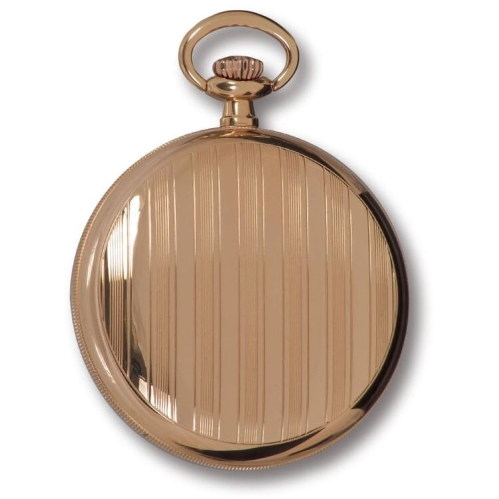 Rose Gold Tone Mechanical Open Face Engraved Pocket Watch