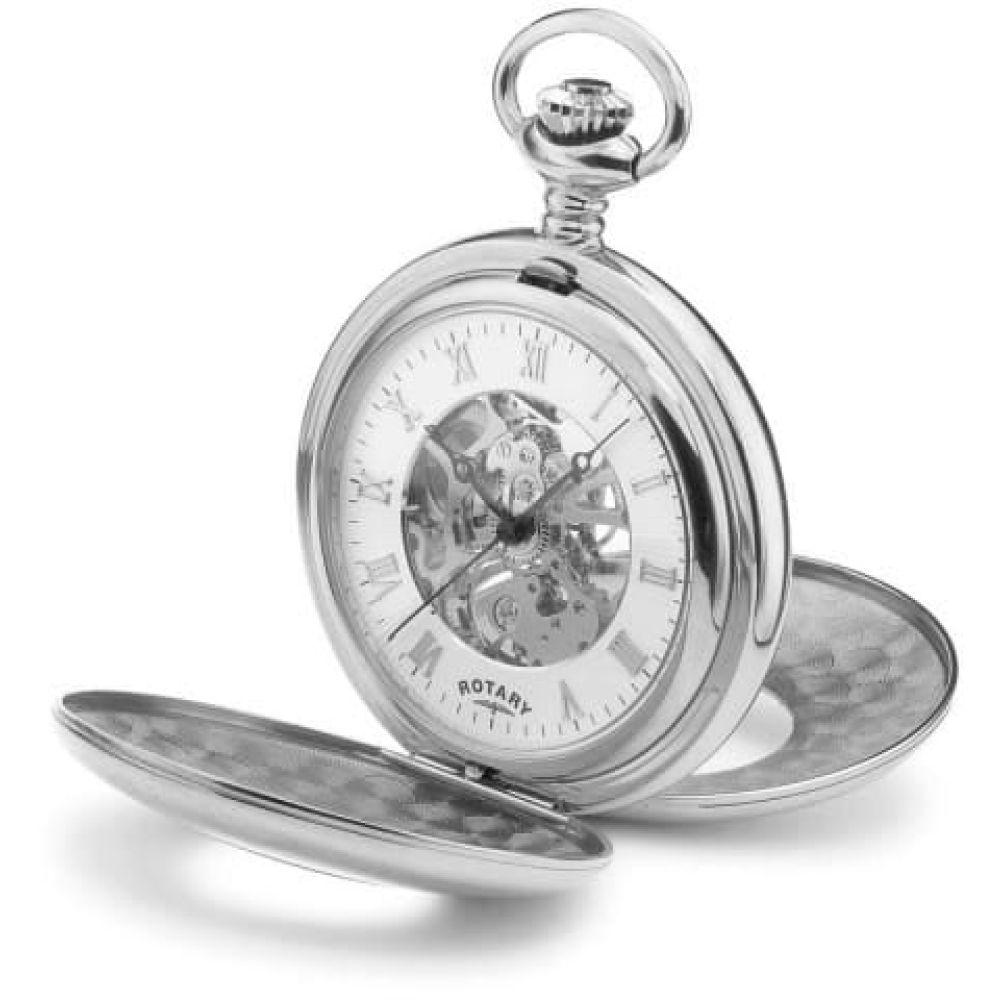 Chrome Mechanical Double Half Hunter Pocket Watch