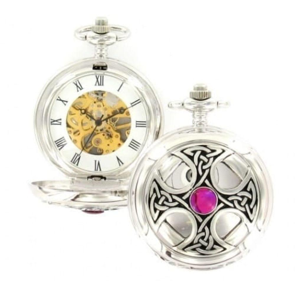 Celtic Cross Mechanical Chrome/Pewter Double Hunter Pocket Watch