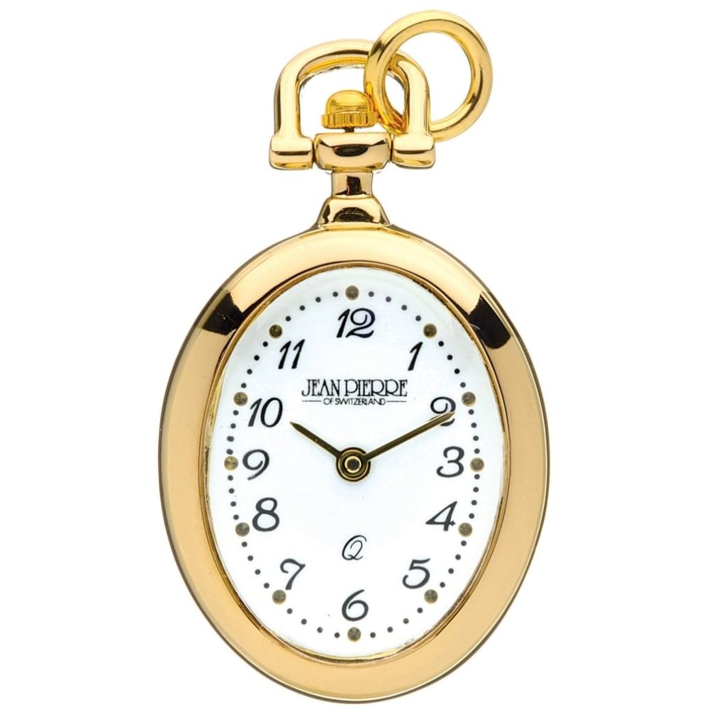 Gold Toned Open Face Oval Quartz Pendant Watch