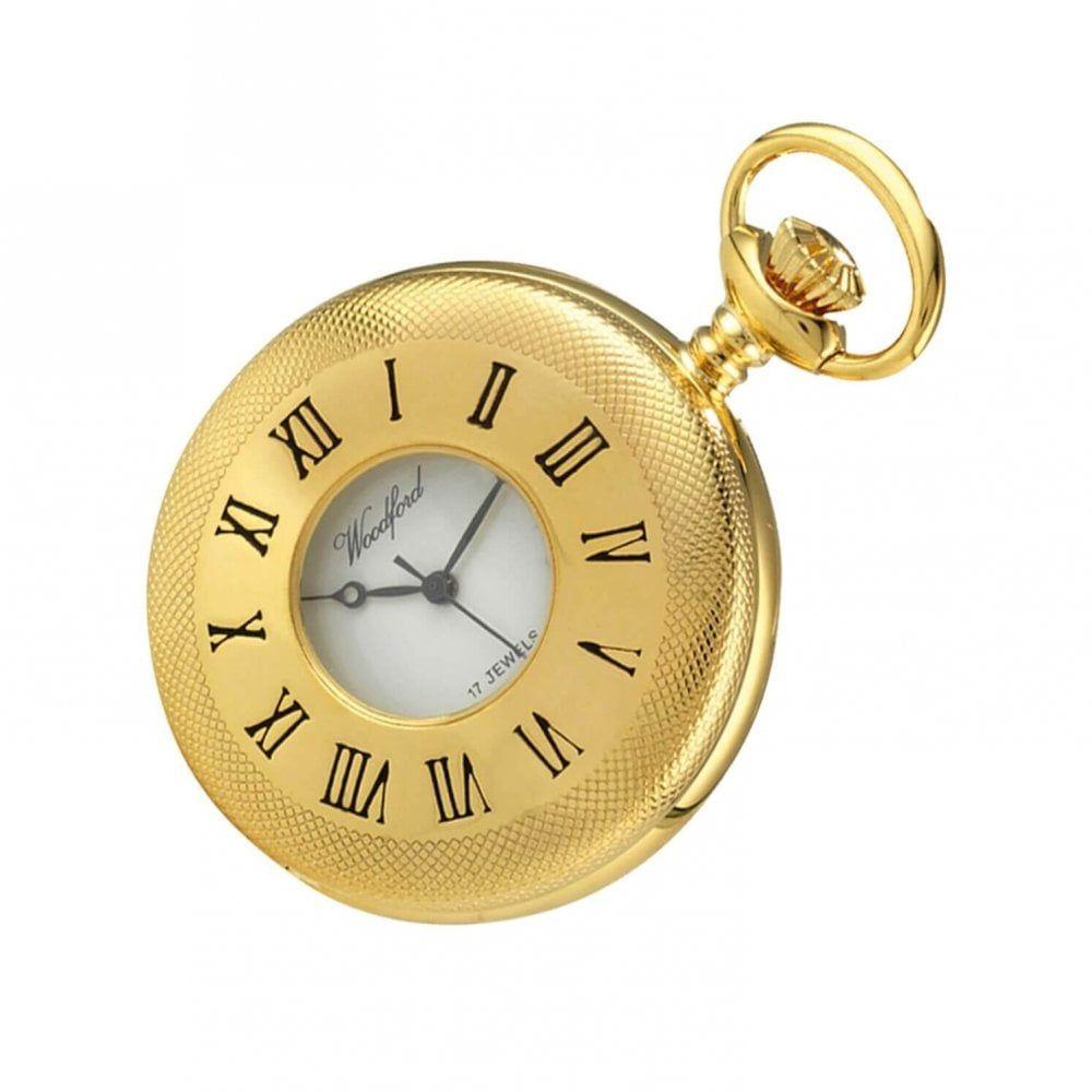 Gold Plated 17 Jewel Mechanical Half Hunter Pocket Watch