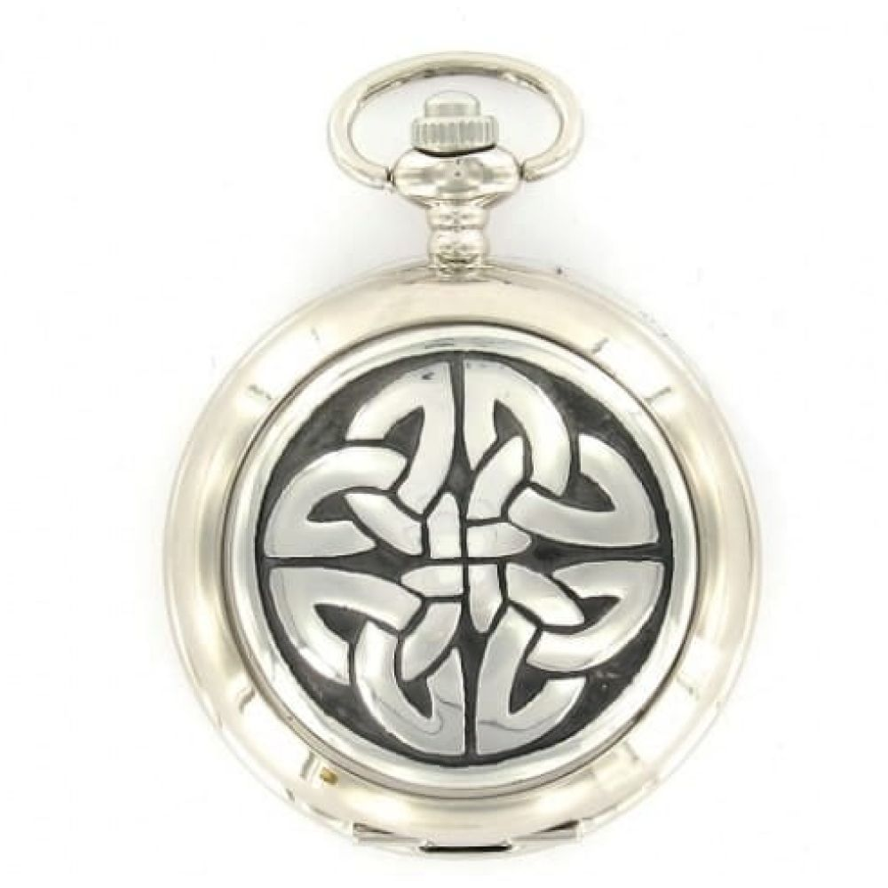Celtic Knot Pattern Chrome Pewter Full Hunter Quartz Pocket Watch