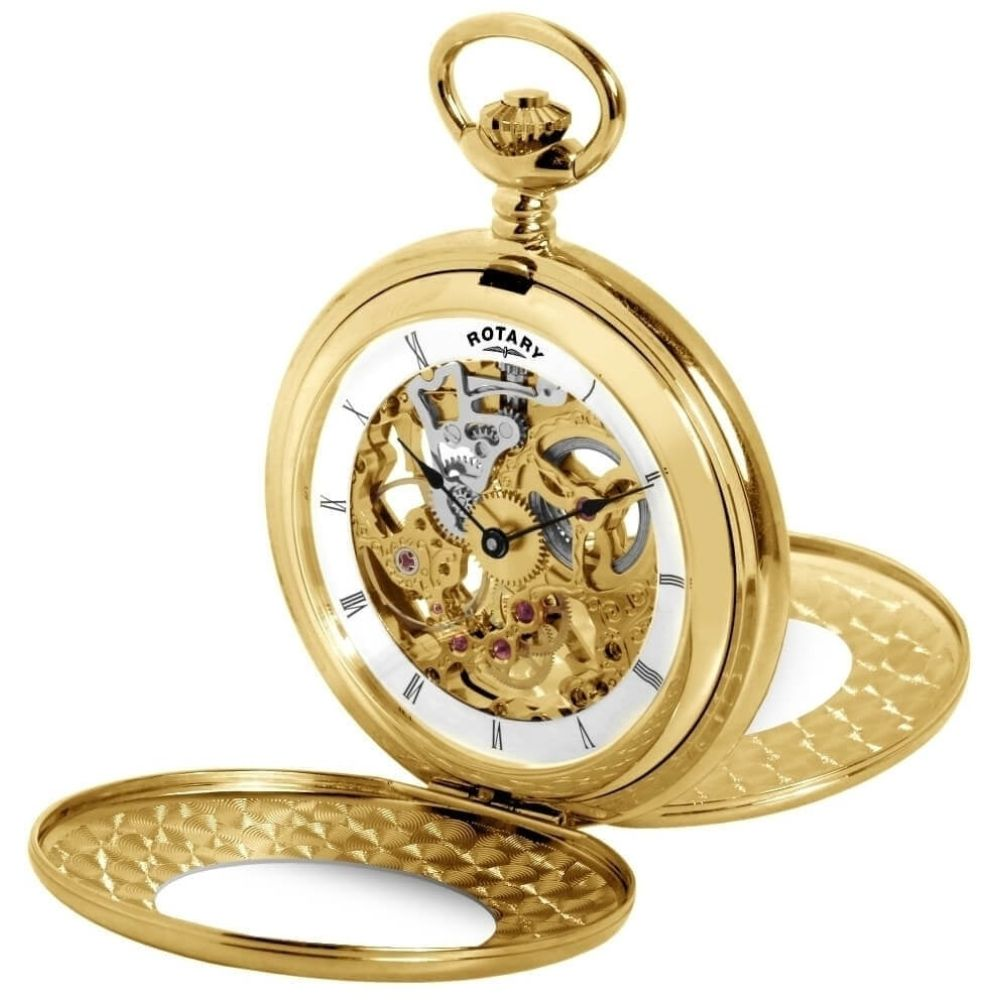 Gold Plated Mechanical Double Half Hunter Front and Back Pocket Watch