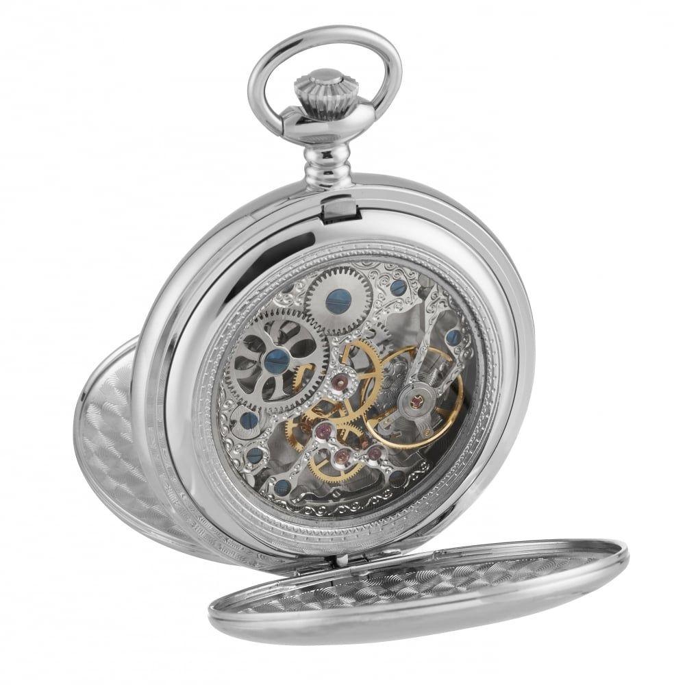Chrome Mechanical Full Dial Double Hunter Skeleton Back Pocket Watch