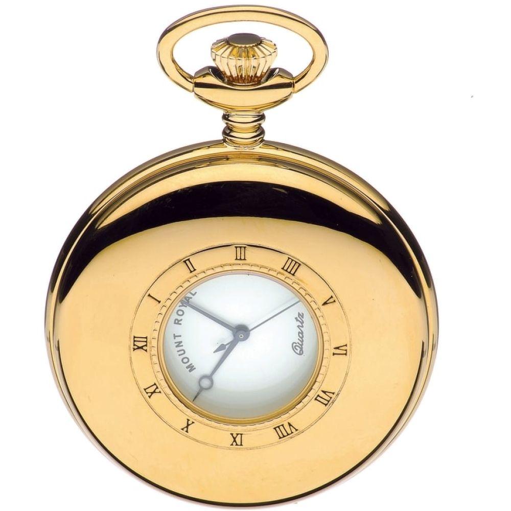 Gold Tone 17 Jewel Half Hunter Quartz Pocket Watch