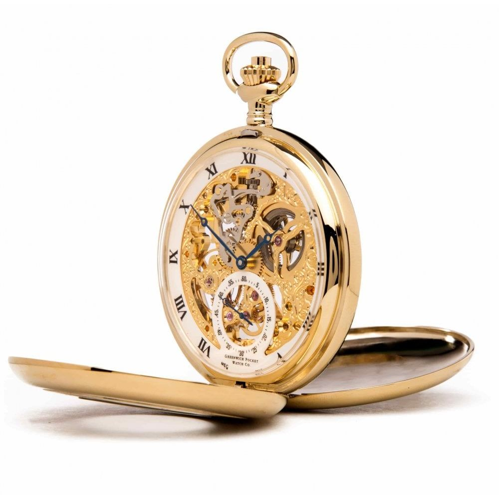 The Bridewell - Gold Plated Mechanical Double Half Hunter Pocket Watch