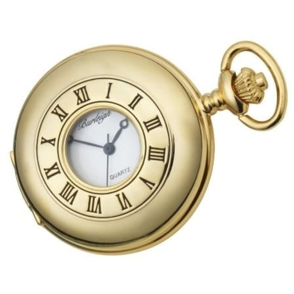 Gents Gold Plated Stainless Steel Half Hunter Pocket Watch With Chain & Stand