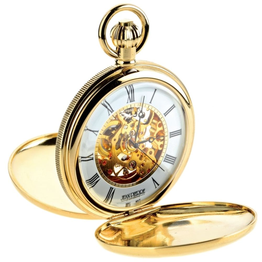 Gold Toned Double Hunter Mechanical Pocket Watch With Heartbeat Window