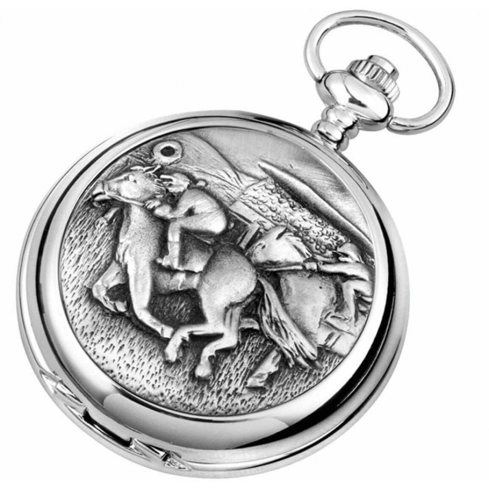 Full Hunter Horse Racing Chrome/Pewter Quartz Pocket Watch