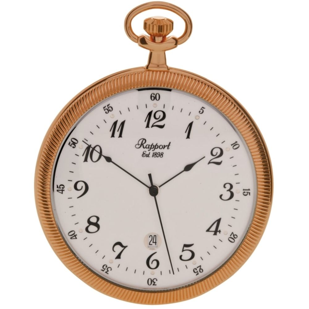 Rose Gold Tone Slim Open Face Quartz Pocket Watch
