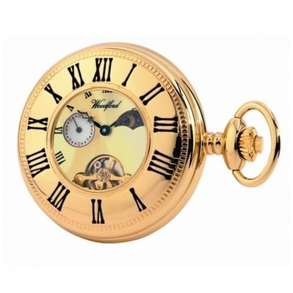 Gold Plated 17 Jewel Moon Dial Mechanical Full Hunter Pocket Watch