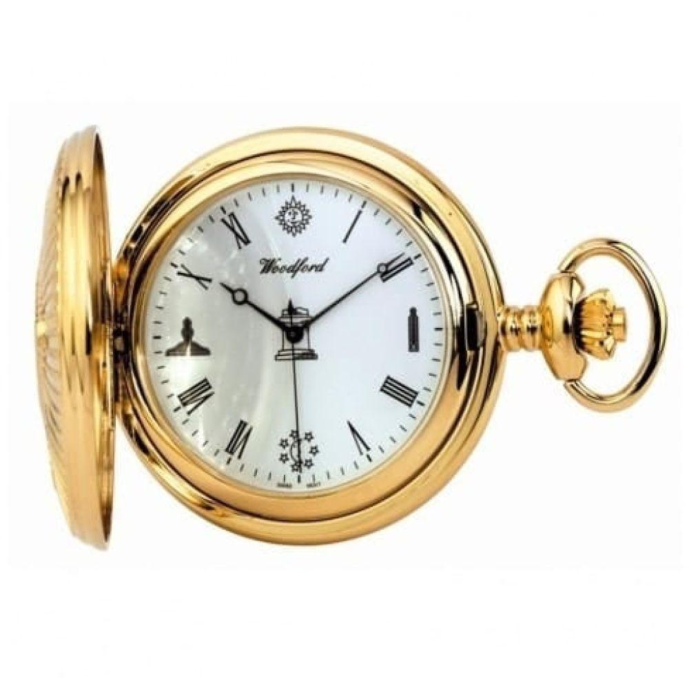 Masonic Gold Plated Quartz Full Hunter Pocket Watch
