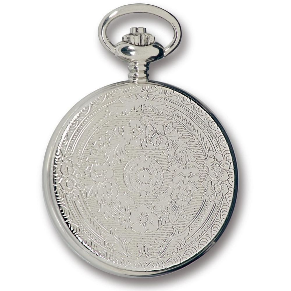 Silver Tone Mechanical Half Hunter Pocket Watch