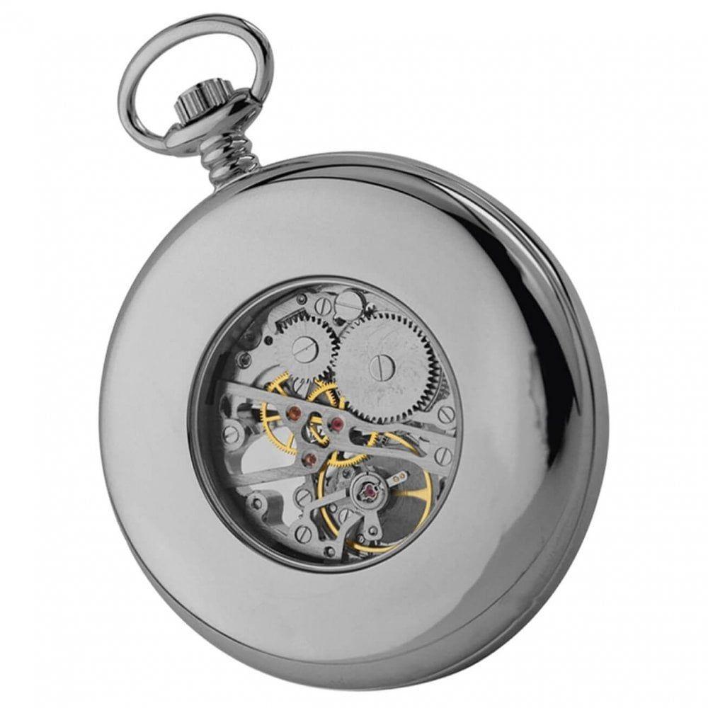 Open Face Skeleton Chrome Pocket Watch
