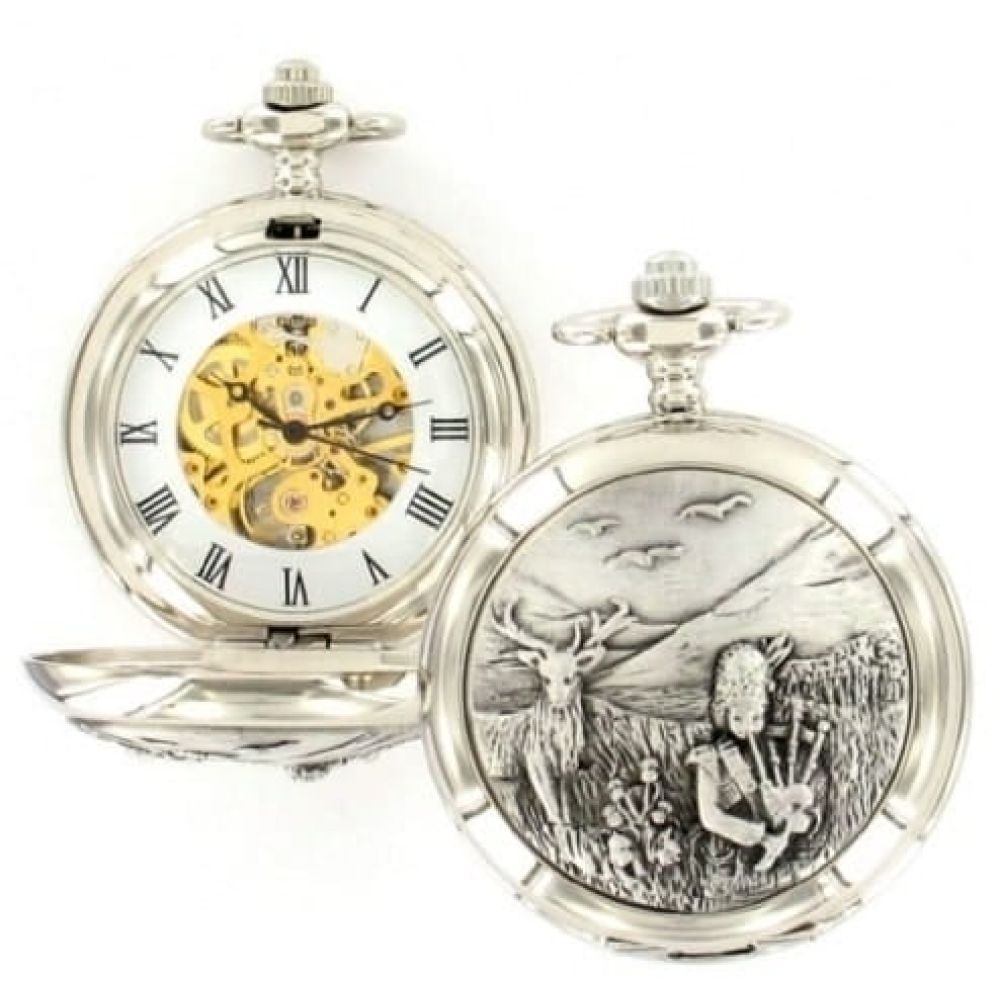 Bag Piper Pewter Double Hunter Mechanical Pocket Watch