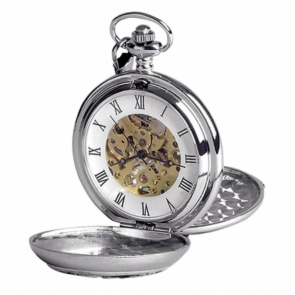 Chrome Finish & Gold Irish Shamrock Double Hunter Mechanical Pocket Watch