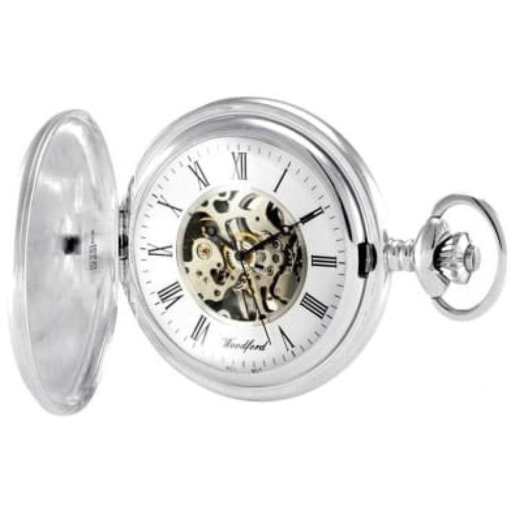 Sterling Silver Full Hunter Skeleton Mechanical Pocket Watch