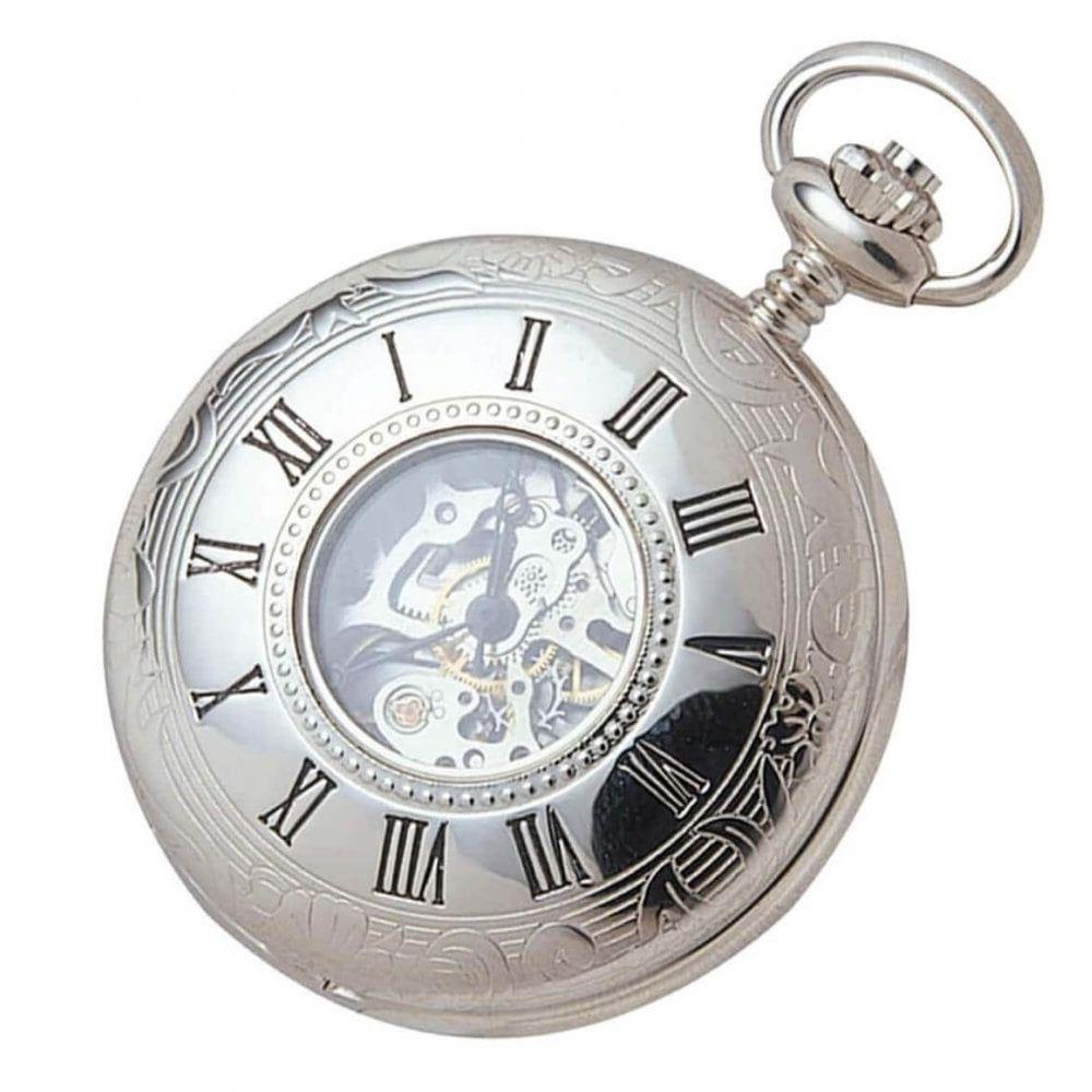 Chrome Plated Mechanical Half Hunter Skeleton Pocket Watch