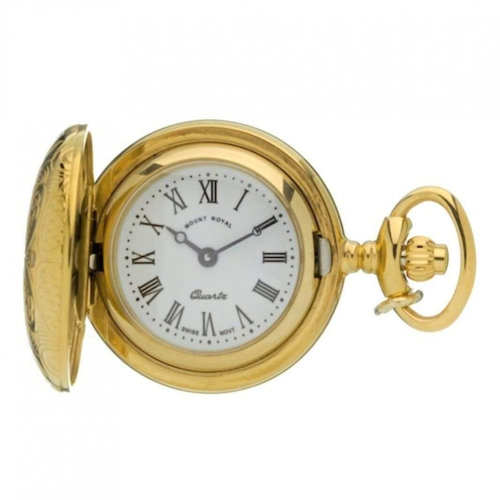 Gold Tone Full Hunter Pattern Quartz Pendant Necklace Watch With Roman Indexes