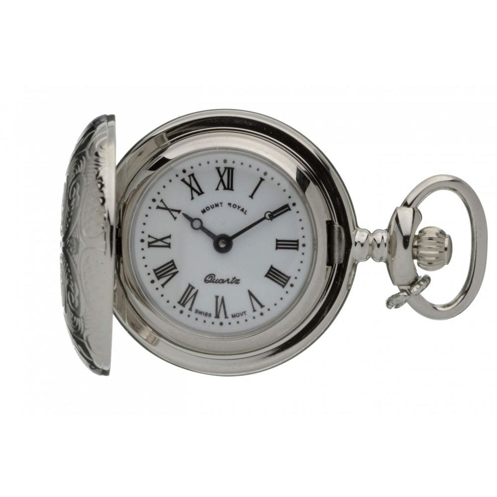 Silver Tone Full Hunter Pendant Necklace Watch With Roman Indexes