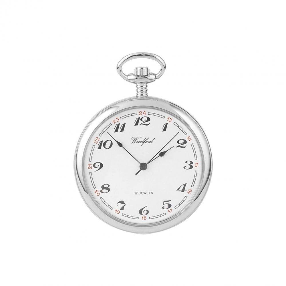 Chrome Plated 17 Jewel Mechanical Open Face Pocket Watch