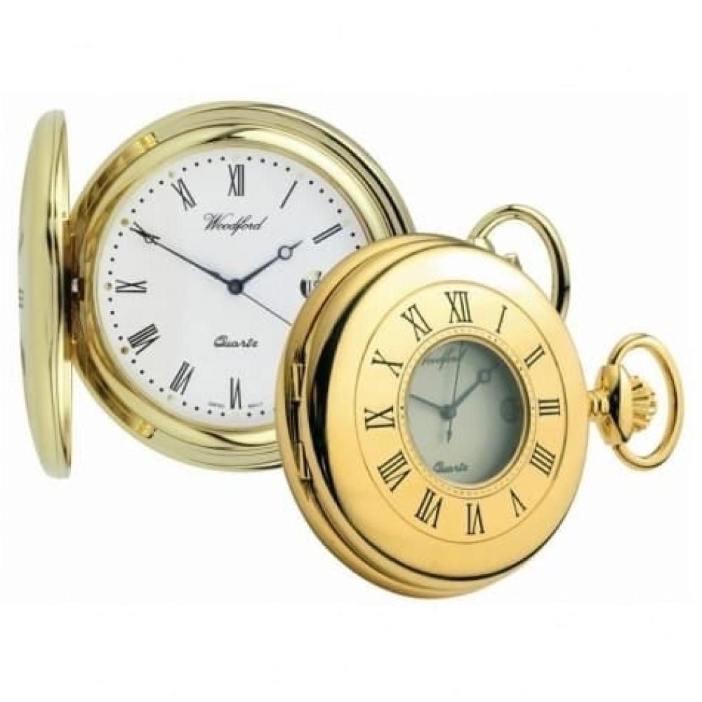 Gold Plated Swiss Quartz Half Hunter Pocket Watch