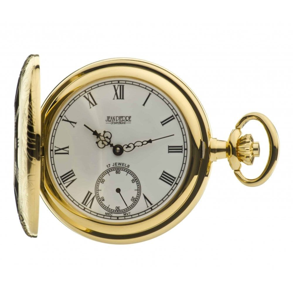 Gold Toned Half Hunter Mechanical Pocket Watch