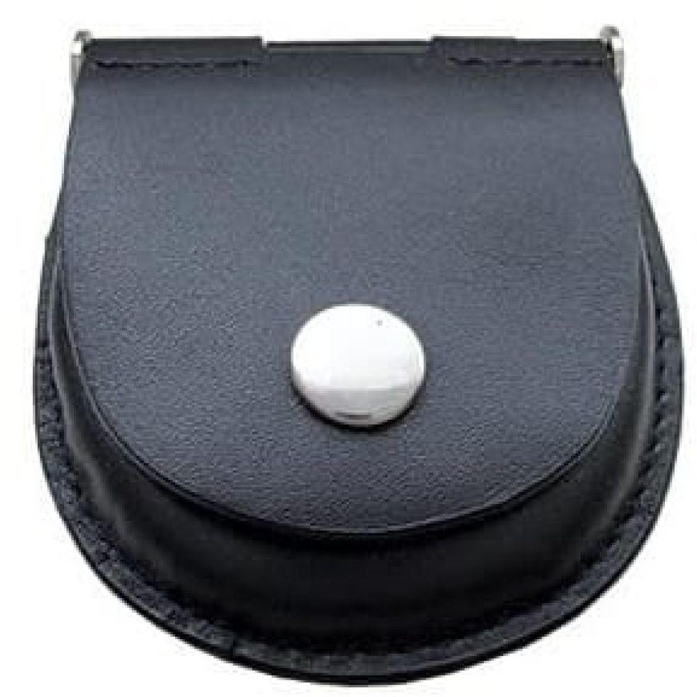 Petite Black Leather Pocket Watch Pouch