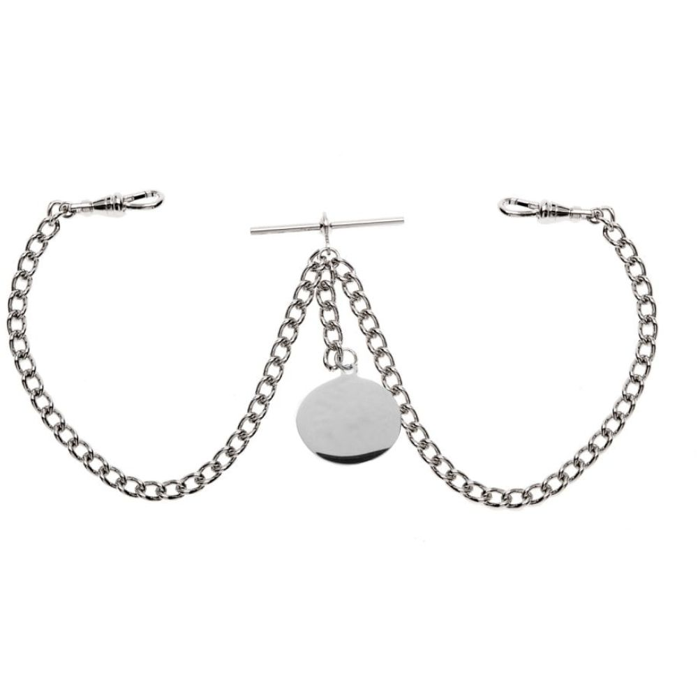 Double Albert Chrome T-Bar Heavy Chain with Engraveable Fob