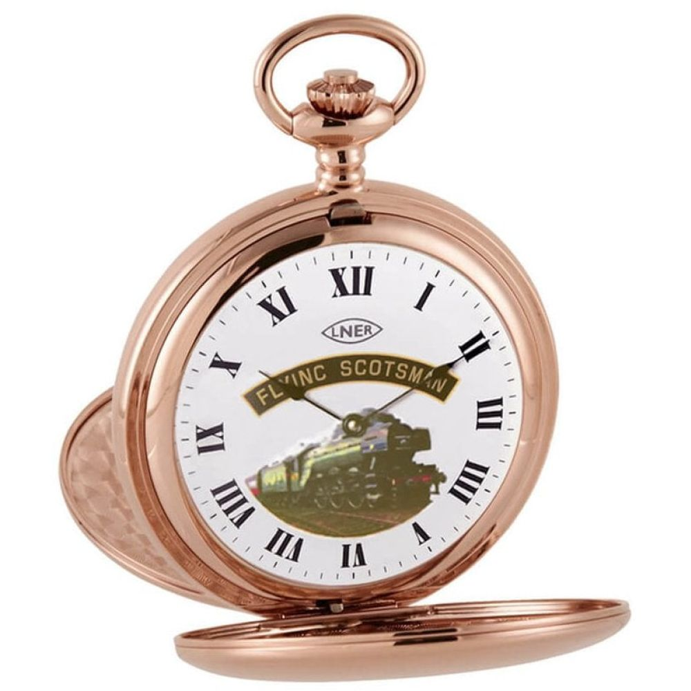 Rose Gold Plated Flying Scotsman Double Half Hunter Pocket Watch