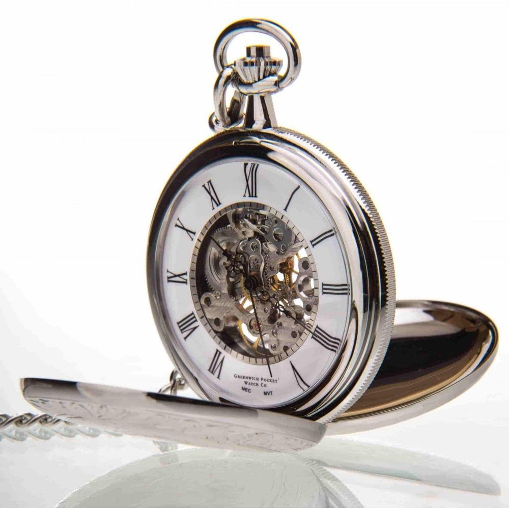 The Winchester - Chrome Pattern Double Hunter Mechanical Pocket Watch