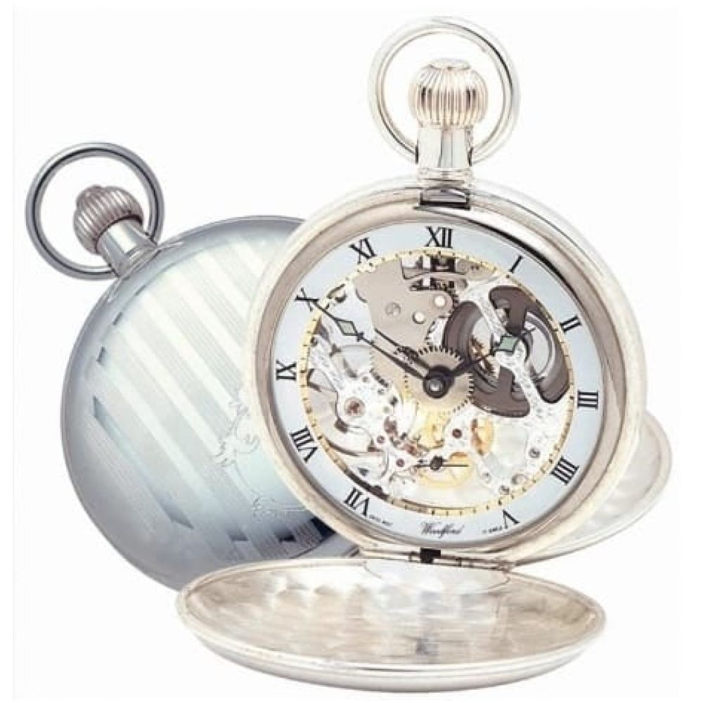 Swiss Movement Sterling Silver Double Hunter Mechanical Pocket Watch With Chain