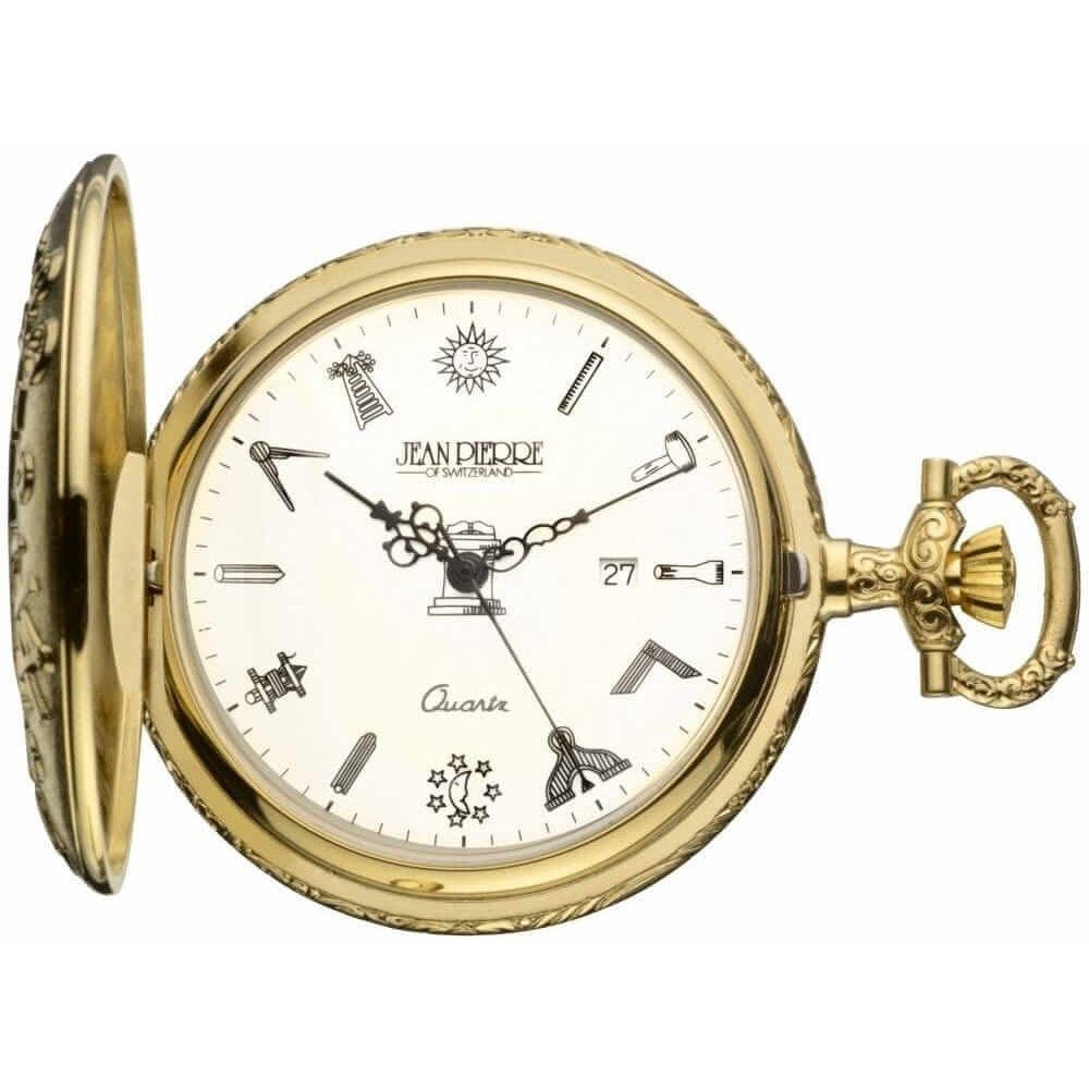 Gold Toned Masonic Half Hunter Quartz Pocket Watch